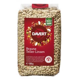 Braune Linsen, 500g, Gourmet-Tellerlinsen  Davert
