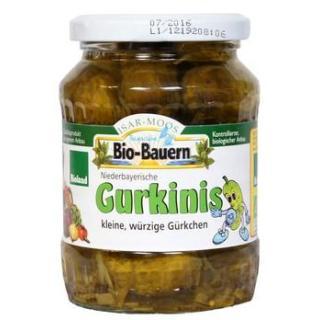 Aktion -abverkauf 7/19 Gurkinis 330g Glas von biohof Laurer
